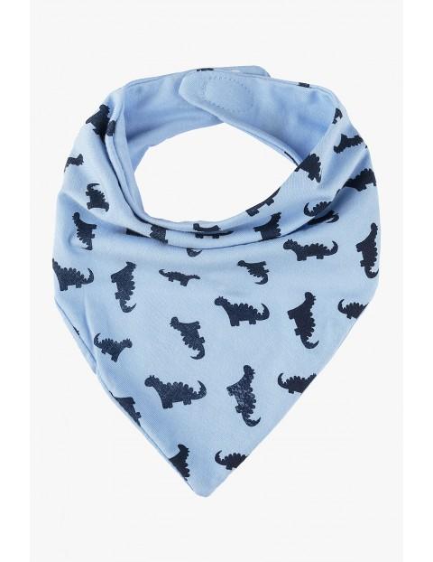 Dzianinowa chustka pod szyję - niebieska w dinozaury