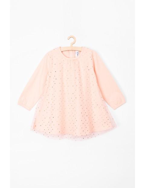 Sukienka niemowlęca różową z miękkiej dzianiny