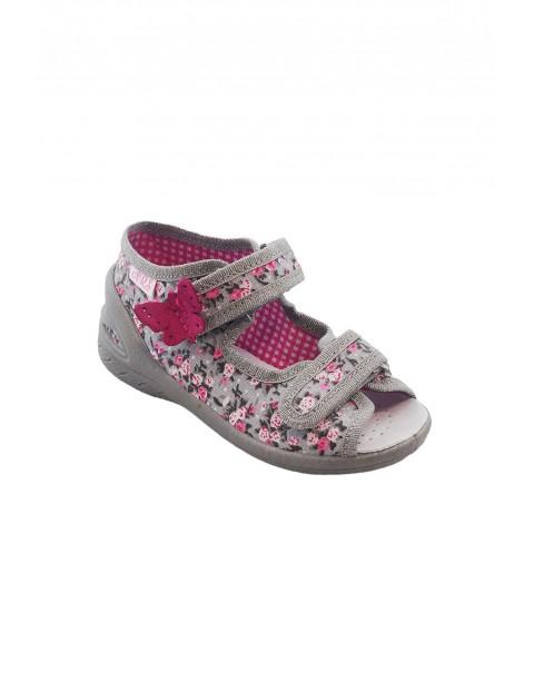 Sandałki dziewczęce w kwiatki - szare