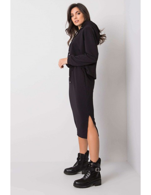 RUE PARIS Komplet damski - spódnica za kolano i bluza z kapturem - czarny