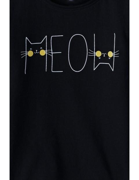 Bawełniana bluzka dziewczęca-długi rękaw z napisem Meow