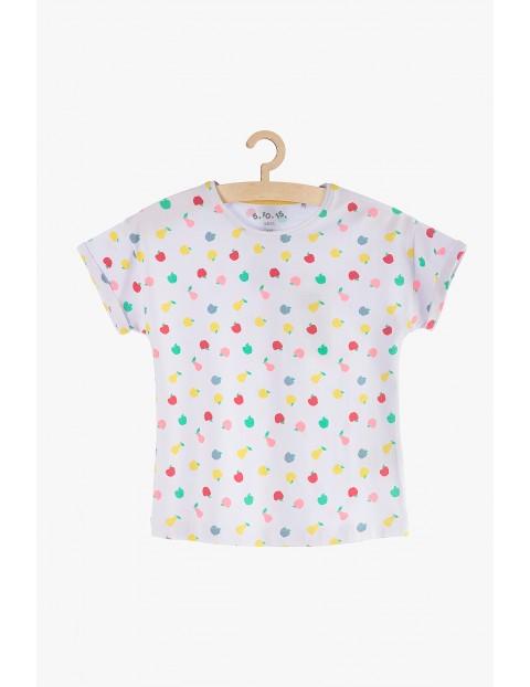 T-Shirt dziewczęcy biały w owoce