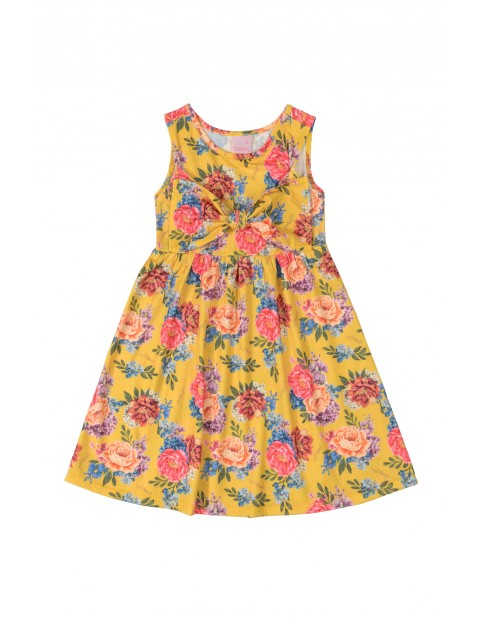 Żółta sukienka w kwiaty - ozdobna kokarda z przodu
