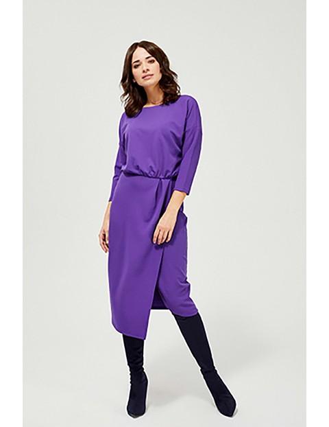 Sukienka z okrągłym dekoltem - fioletowa