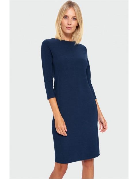 Granatowa dopasowana sukienka damska