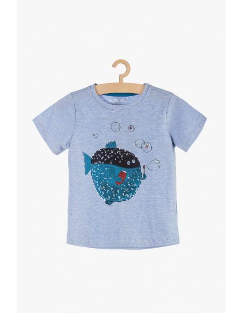 T-Shirt chłopięcy niebieski z rybką