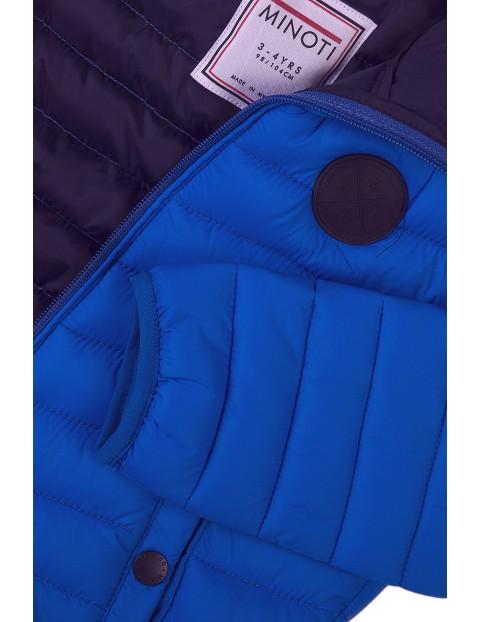 Kurtka chłopięca pikowana niebieska z kapturem