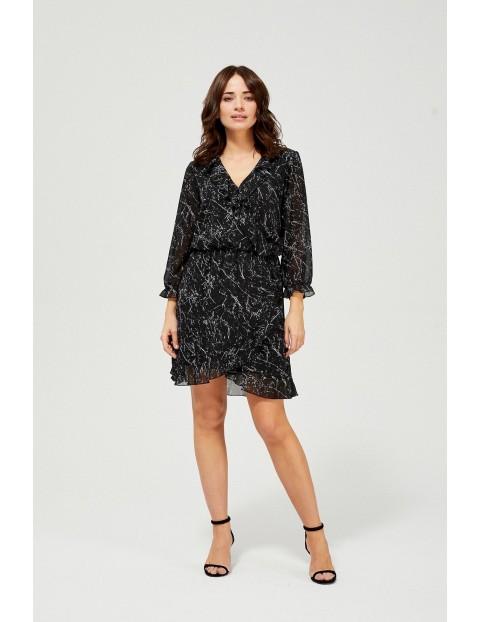 Szyfonowa sukienka z falbanką - czarna