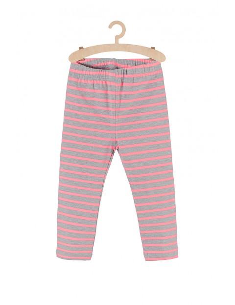 Leginsy dla dziewczynki szare w różowe fluo paski