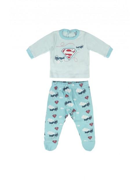 Komplet dla niemowlaka- bluzka i półśpiochy- niebieskie