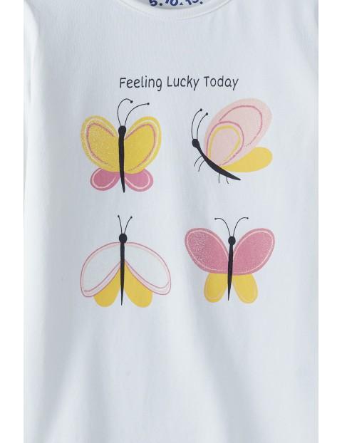 Bluzka dziewczęca na długi rękaw z motylkowa - ecru