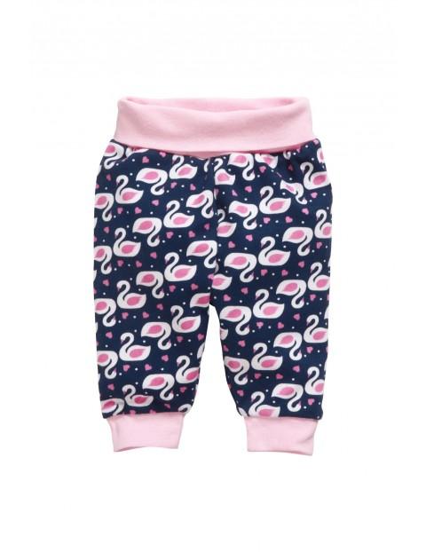 Spodnie dzianinowa dla niemowlaka-łabędzie