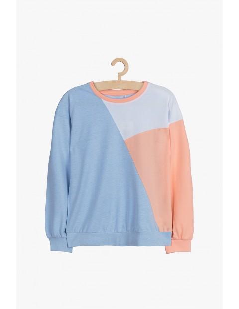 Bluzka dzianinowa - różowo niebieska