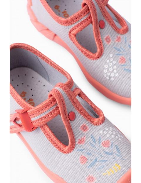 Buty dla dziewczynki - niebieskie w kwiatki