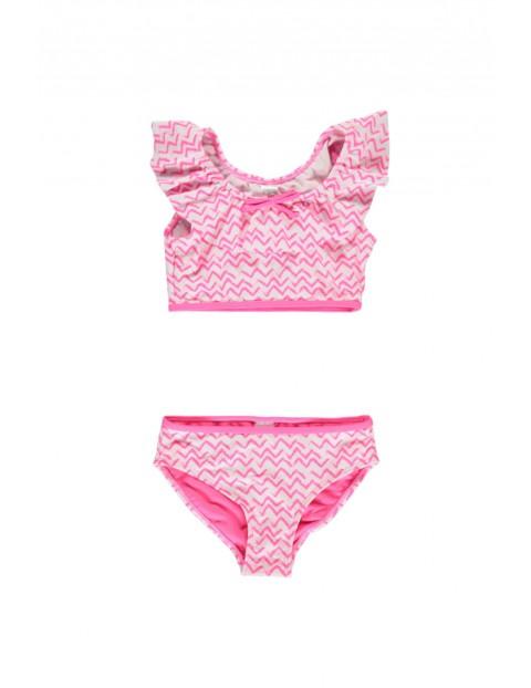 Strój kąpielowy różowy we wzory
