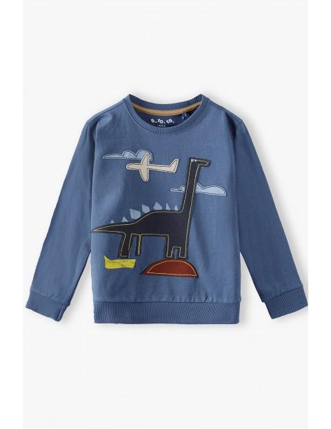 Bluzka chłopięca z długim rękawem - niebieska z Dinozaurem