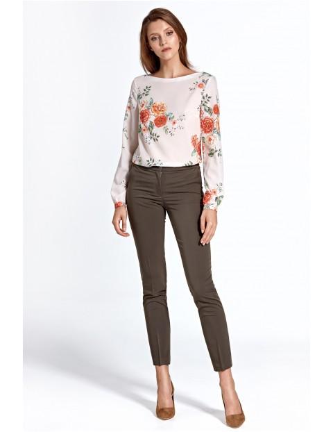 Spodnie damskie w kant przed kostkę - khaki