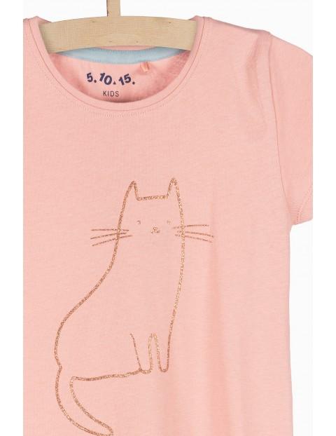 Różowy tshirt dziewczęcy z brokatowym kotem