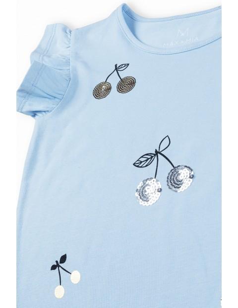 Komplet dziewczęcy  - niebieska  bluzka w wisienki i granatowe spódenki