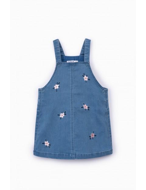 Sukienka dziecięca na szelkach - niebieska w kwiatki