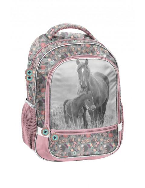 Plecak szkolny dwukomorowy z usztywnianymi plecami szaro-różowy w koniki