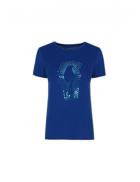 T-shirt damski Ochnik- niebieski z nadrukiem