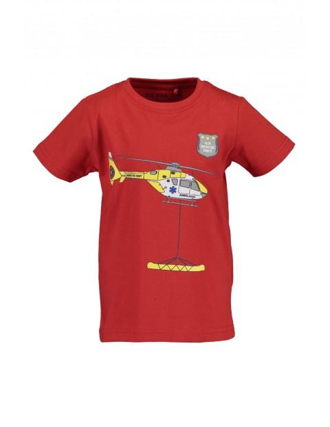 T-Shirt chłopięcy czerwony z helikopterem