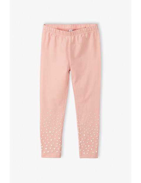 Leginsy dziewczęce w białe kropeczki - różowe