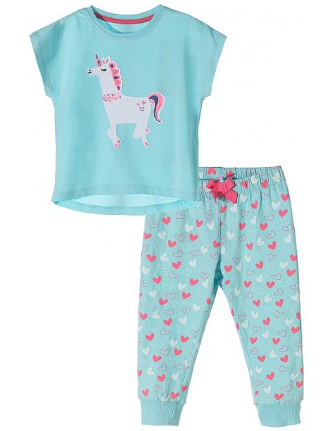 Piżama dziewczęca niebieska z jednorożcem