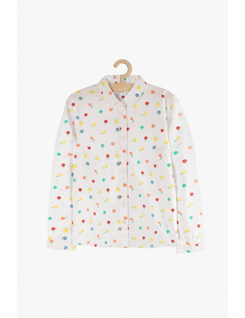 Biała koszula z długim rękawem w owocowe wzory