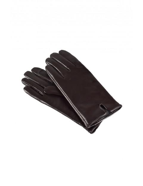 Rękawiczki damskie skórzane antybakteryjne - brązowe