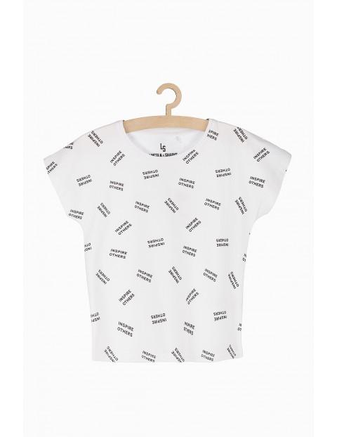 Biały t-shirt dziewczęcy z czarnymi napisami
