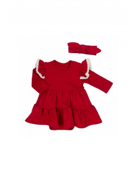 Komplet świąteczny dla niemowlaka sukienko-body i dzianinowa opaska
