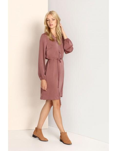Sukienka damska na długi rękaw z wiązaniem w pasie