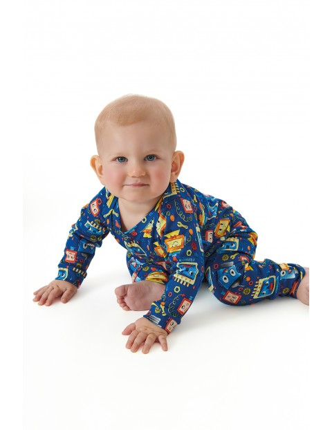 Spodnie niemowlęce w kolorowe roboty
