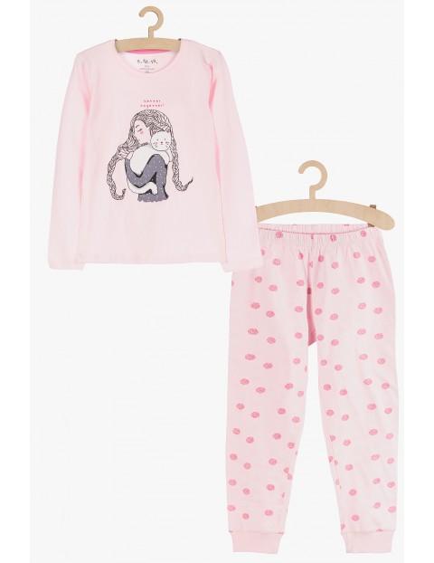 Piżama dla dziewczynki- różowa z dziewczynką z kotem