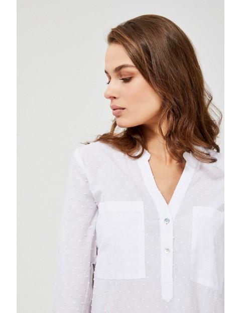 Biała wiskozowa koszula z rozpinanym dekoltem