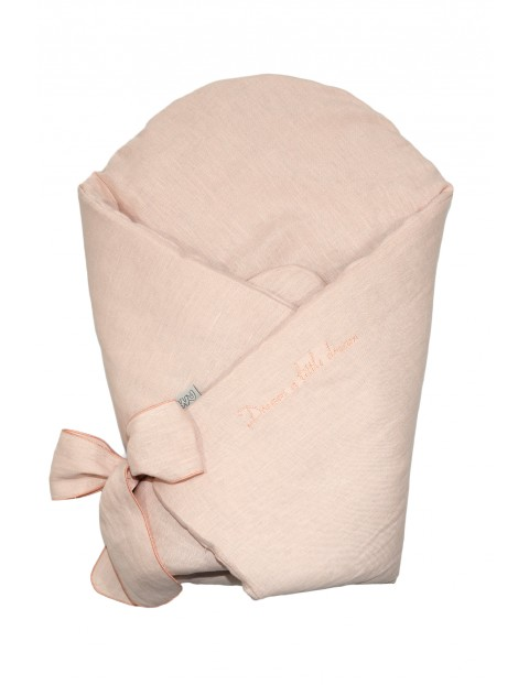 Becik niemowlęcy lniany z usztywnieniem 78x78cm - różowy