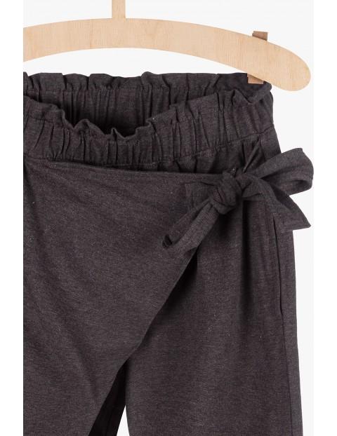 Spodnie damskie z wiązaniem- szare