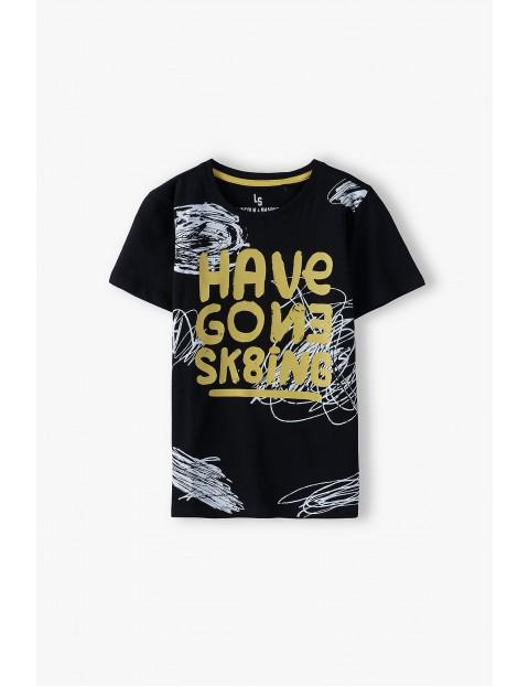 Bawełniany t-shirt chłopięcy w kolorze czarnym z napisem