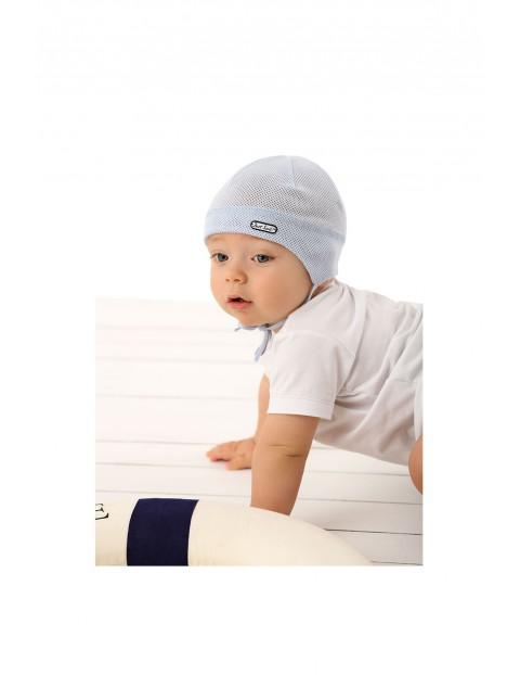 Czapka niemowlęca wiązana niebieska