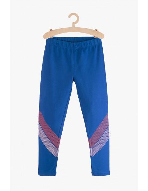 Leginsy dziewczęce niebieskie- nadruki na nogawkach