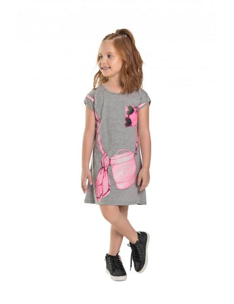 Sukienka dziecięca we wzorki - szara