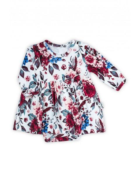 Bawełniana sukienka - body z kwiecistym wzorkiem