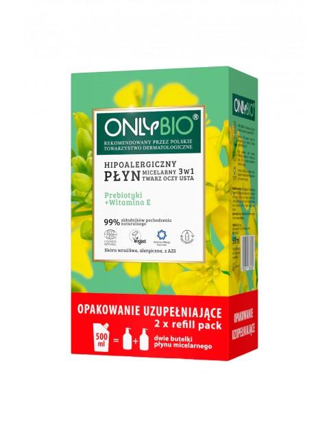 Płyn micelarny OnlyBio do demakijażu twarzy prebiotyki i witaminy hipoalergiczny 3w1- 500ml