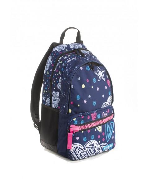 Plecak dziewczęcy szkolny  - granatowy w serduszka