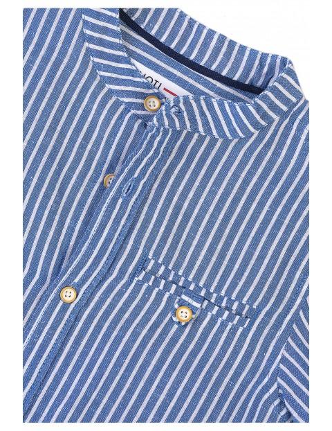 Koszula chłopięca z krótkim rękawem- niebieska w paski