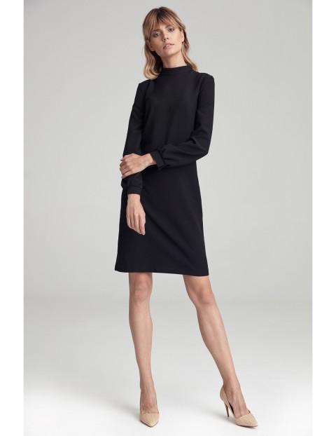 """Sukienka w literę """"A"""" z półgolfem - mała-czarna"""