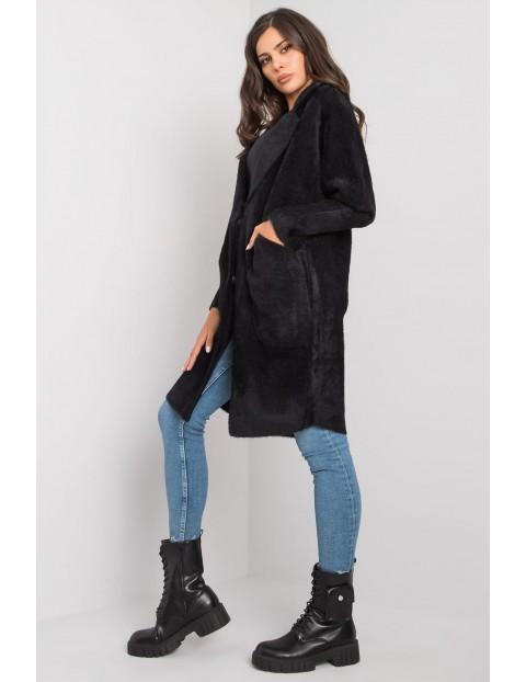 Czarny płaszcz alpaka z kieszeniami rozmiar S/M