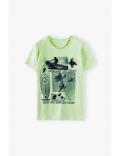 T-shirt chłopięcy w kolorze limonkowym z nadrukiem